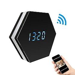 CAMXSW WiFi Spy Camera Alarm Clock Hidden Camera 4500mAh HD 1080P with IR Night Vision Motion Detection Alarm Wall Clock Camera Mini Video Recorder Nanny Cam Black