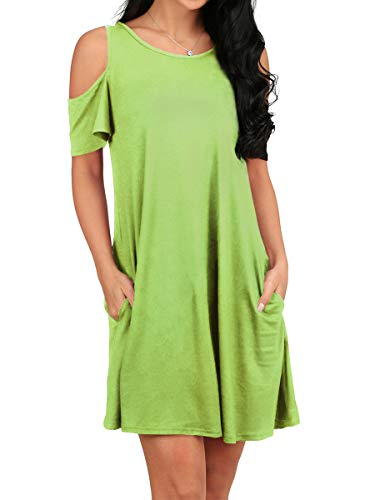 OFEEFAN Women's Cold Shoulder Tunic Top T-Shirt Swing Dress with - Pocket Tank Tunic