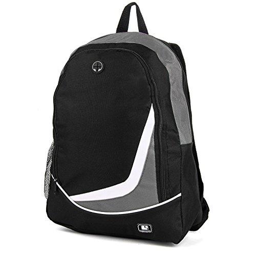 """SumacLife Nylon Backpack for 14-15.6"""" Laptops for Lenovo G40 / Toshiba Satellite C55-B5100/C55-B5101 / Apple MacBook Pro 15.4 / Dell Latitude E6420 Premium-Built (Gray, Black)"""