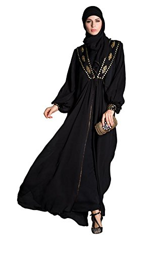 74818bdaa Nayyara Couture Woman Black Georgette Abaya: Amazon.in: Clothing &  Accessories