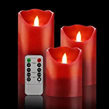 "Bingolife Flameless Candles 4"" 5"" 6"" Real Wax Moving LED Flame with 10-key Remote Control - 2/4/6/8 Hours Timer - Set of 3 (Burgundy)"