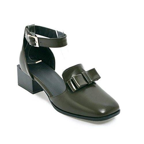 Sandalias Mujer/Sandalia con Pulsera para Mujer/Pajarita con Estudiantes en Sandalias Parte Código Jefe de Zapatos de Mujer Green