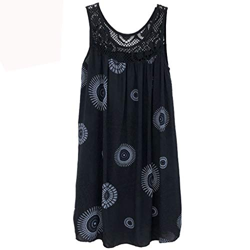 Woman Dress Short Loose Tunic Summer Sleeveless Round Neck Tank Skirt Casual Wrinkle Free Toponly