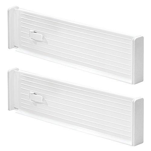 InterDesign Linus Adjustable Deep Drawer Organizer Dividers for Kitchen or Dresser - Set of 2; White