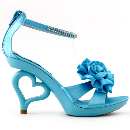 Show Story Strappy Ankle Strap Bride Wedding Dancing Heart Heels Sandals,SM33101 Sky Blue