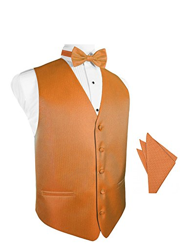 Tangerine Herringbone Tuxedo Vest with Bowtie & Pocket Square Set ()