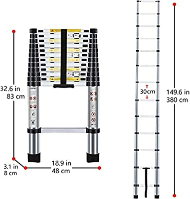 CDC® aluminio pantalla TFT LCD de escalera telescópica plegable escalera de cada protector de peldaño Fodable peldaños escalera aluminio extensible de extensión máxima de ventilador de., 3,8 m: Amazon.es: Hogar