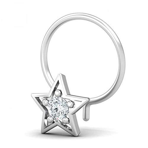 Star Natural Diamond Nose Ring 0.06Ct 18K Yellow/White/Rose Gold Nose Rings Piercing Jewelry