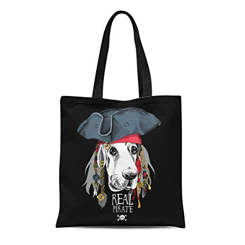 (Semtomn Canvas Bag Resuable Tote Grocery Adorable Shopping Portablebags Accessory Portrait of Basset Hound Dog in Pirate Hat Bandana Dreadlocks Animal B Natural 14 x 16 Inches Canvas Cloth Tote)
