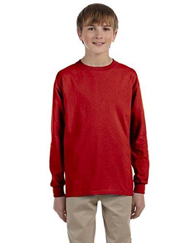 Jerzees Youth 5.6 oz., 50/50 Heavyweight Blend Long-Sleeve T-Shirt (29BL)- TRUE RED,XL (Youth Jerzees Heavyweight Blend)