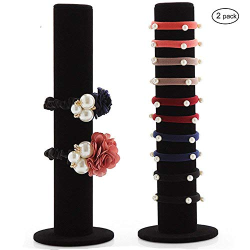 JIFF Jiffordwind Black Velvet Vertical Tower Hair Band Hair Clasp Jewelry Bracelet Display Bangle T-Bar Display Organizer Holder (2 Pack-Hair Band Display)