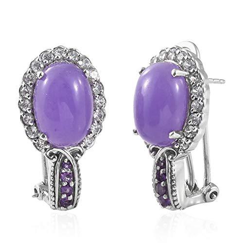 - 925 Sterling Silver Platinum Plated Oval Pruple Jade Hoops Hoop Omega Clip Earrings for Women Jewelry Gift