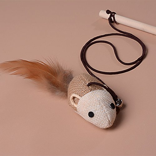 Embiofuels(TM) New Pet Cat Toy Dangle Wooden Rod Faux Mouse Toy for Cats Elastic Rope Cat Bell Toys Funny Playing Cat - Bell Wedding Dangle