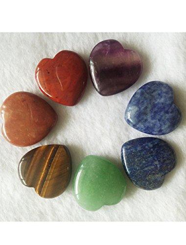 - Amoystone 7 Chakra Heart Shaped Stones 1