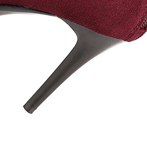 Talons Cuissarde Femmes Aiguilles De Fermeture À Bottines Eclair Cm Avec Moyenne Et Elegantes Sexy Bordeaux Mode En 9 Lacet Uh dYIxgwx