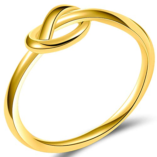 (Jude Jewelers Durable Stainless Steel Silver Black Love Knot Ring Promise Celtic (Gold, 7))