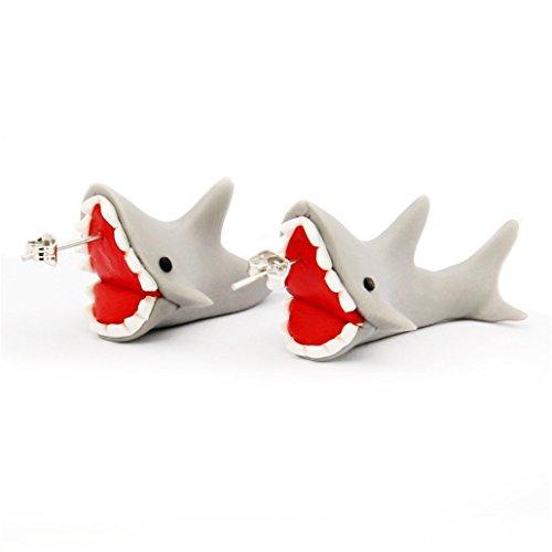 Moxeay Handcraft Polymer Clay Cute Animal Earrings-Chomper earrings, Sharks earrings, crocodiles earrings,Piranha earrings (JE166-8)