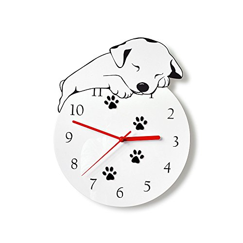 (kolymax Wall Clock Non-Ticking Silent Kids Room Decorative Clock With Unique Lovely Cartoon Shape -Cute Puppy Dog 12inch (white) )