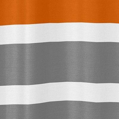 Sweet Jojo Designs Gray, Orange and White Kids Bathroom Fabric Bath Teen Stripe Shower Curtain