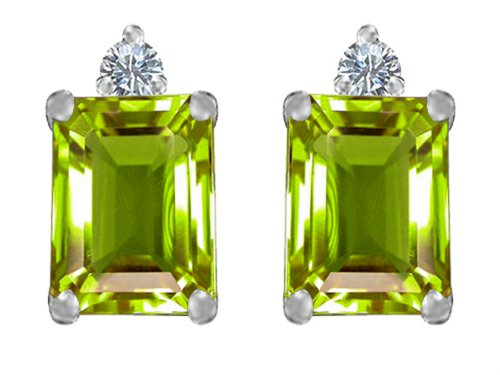 Star K 8x6mm Emerald Octagon Cut Simulated Peridot Earrings Studs