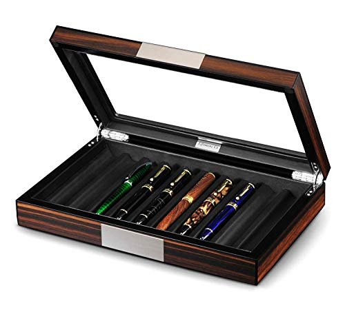 (Lifomenz Co Wood Pen Display Box 10 Pen Organizer Box,Glass Pen Display Case Storage Box with Lid,Top Glass Window Pen Collection Display Case)