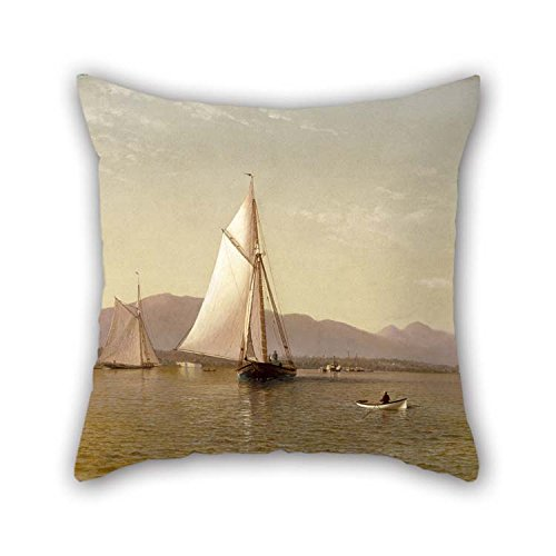 TonyLegner Oil Painting Francis Augustus Silva - The Hudson at The Tappan Zee Pillow Shams Best for Sofa Festival Bar Study Room Divan Boy Friend 20 X 20 Inches / 50 by 50 cm(Twice Sides) -