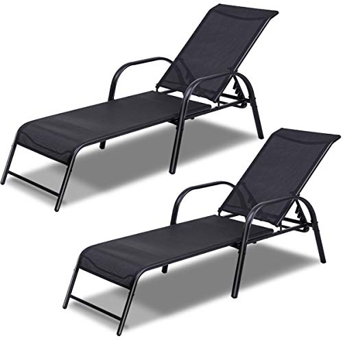 Giantex Set of 2 Patio Lounge Chairs Pool Patio Furniture Sling Chaise 2-Piece Outdoor Lounges Recliner w/Adjustable (Metal Chaise Lounges)