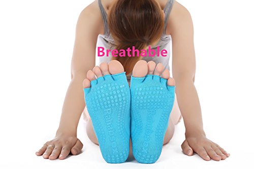 Non slip Skid Resistant Toeless Grip Sock for Women Yoga Pilates Gym Half toe Sock