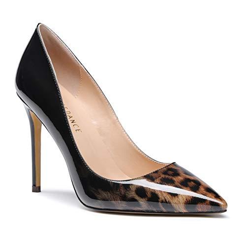 SUNETEDANCE Womens Slip On Pumps Comfort Classic High Heels Pointy Toe Sexy Elegant Stiletto Heels 10CM Heel Shoes Patent Black Leopard Pump 6.5 M ()