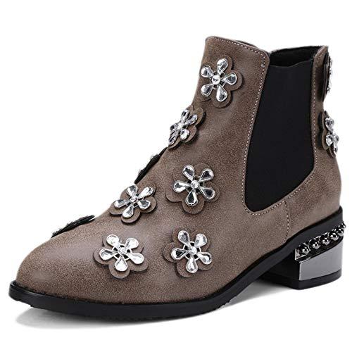 Martin Stereo Absatz Size 34 46 Spitzen Zehen Damen Stiefel Damen Large Blumen Chelsea Booties Stiefeletten Mid Boots Dekoration nqS7B0C