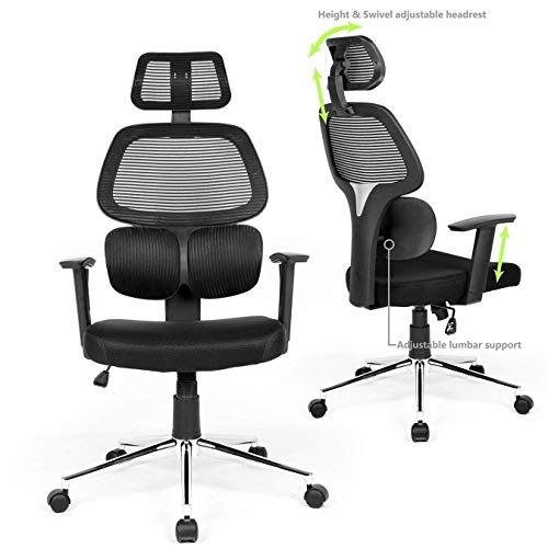 Black /… DHHX Co TIKITERE-14 Ergonomic Office Chair Mesh Computer Desk Chair High Back Swivel Task Executive Chairs with Lumbar Support Adjustable Backrest Headrest Armrest Seat Height for Home Office Conference