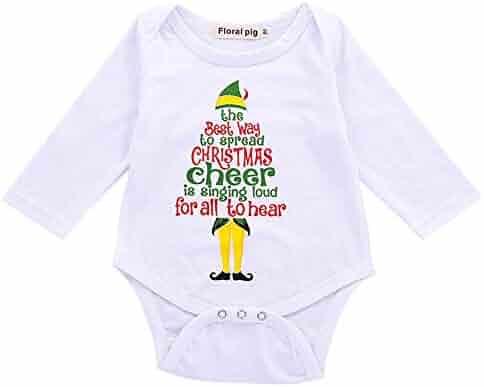 84bb503fcf Newborn Baby Boys Girls Tops Sing Loud to Cheer Christmas Long Sleeve Romper