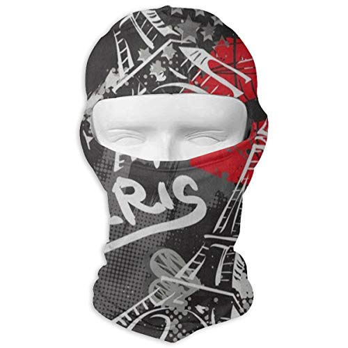 IDO Red Lip Bonjour Paris Eiffel Tower Full Face Masks UV Balaclava Hood Ski Headcover Motorcycle Neck Warmer Tactical Hood for Cycling Outdoor Sports Hiking for Man/Women