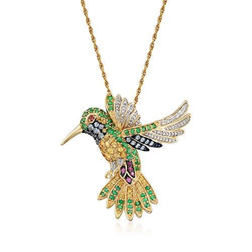 Ross-Simons 1.96 ct. t.w. Multi-Stone Hummingbird Pin Pendant Necklace With Diamonds in 18kt Gold Over Sterling