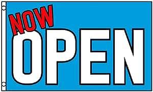 Ahora abierto bandera azul negocios Banner 3x 5pies Grand apertura publicidad signo nuevo