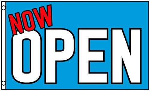 NOW OPEN Flag Blue Business Banner 3 x 5 Foot Grand Opening Advertising Sign New (Opening Banner Outdoor)