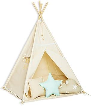 FUNwithMUM Tipi Zelt Spielzelt Teepee Fur Kinder Indianer Wigwam Kinderzimmer Garten Bodenmatte 3xKissen 100x100x150 Baumwolle Natural Mint