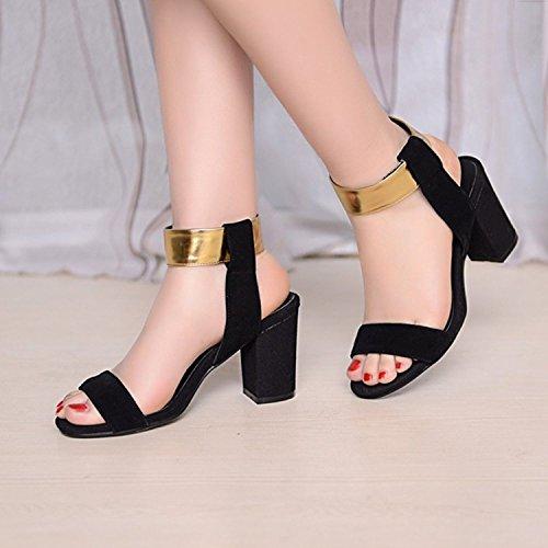 Damen Auslaufrabatt Sandalen Dayiss Sandaletten Strap T mit Gold Schwarz Straß Sommer Absatz AqZwd6q