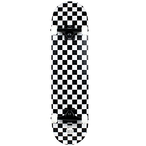 Checker Complete Skateboard - Krown Rookie Checker Skateboard, Black/White, 7.75
