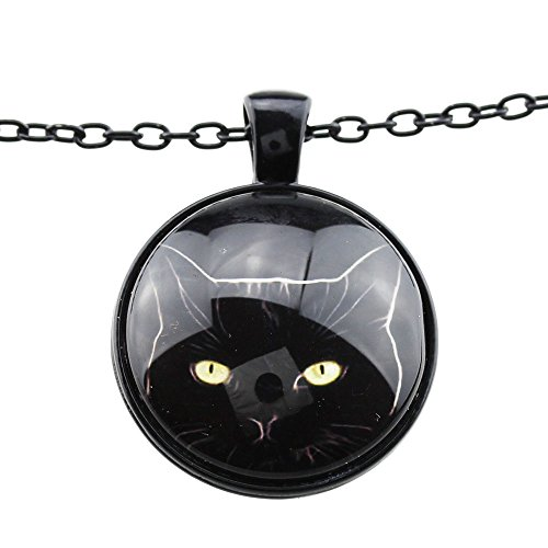 [FOY-MALL Fashion Black-tone Cat Pendant Necklace XL1299] (Lobster Claw Costume Pattern)