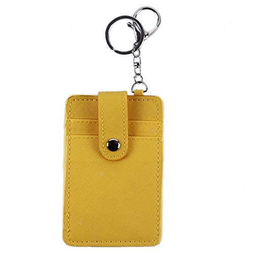 ZALING Portable ID Card Holder Bus Cards Cover Case Office Work Keychain Keyring Tool Yellow