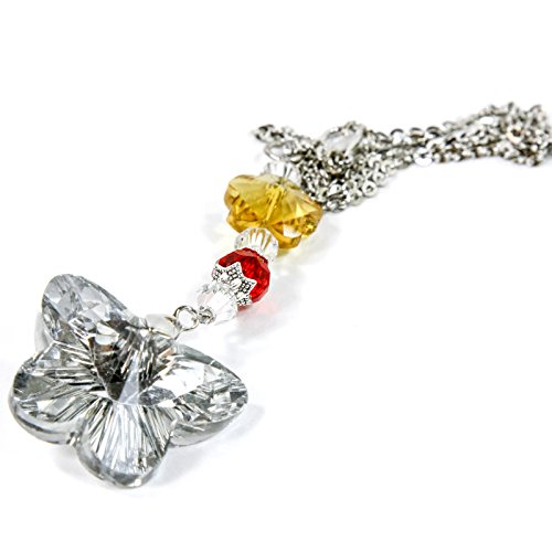 - Crystal Bling Butterfly Mirror Car Charm Hanger Ornament Sparkle Shine Facets w/ Chain