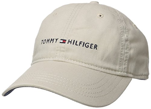 Baseball Adjustable Hat Logo (Tommy Hilfiger Men's Logo Dad Baseball Cap, Tommy Stone One Size)