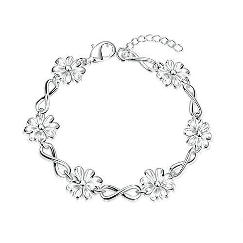 Gnzoe Women Wedding Bracelet Stainless Steel Daisy Flower Silver Length 8.8 (Rasta Costume Nz)