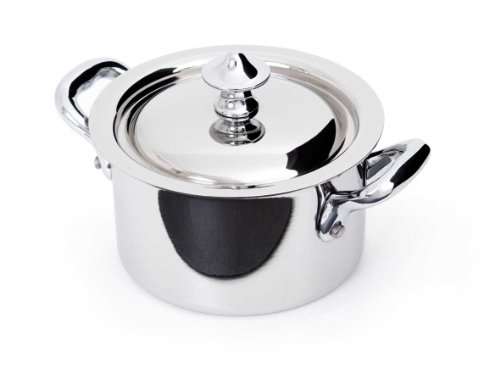 Mauviel Made In France M'Cook 5 Ply Stainless Steel 5130.03 0.9-Quart Mini Cocotte and Lid with Cast Stainless Steel Handle