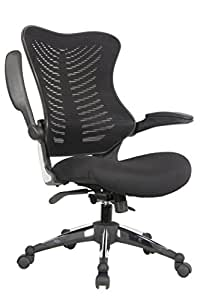 OFFICE FACTOR Executive Ergonomic Office Chair Back Mesh On Seat And Back Flip up Armrest Molded Seat with a 55kg Foam Density Double Handle Mechanism (BLACK MESH FABRIC SEAT)