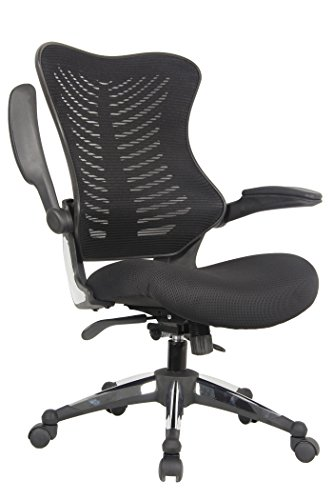 Ergonomic Fabric - OFFICE FACTOR Executive Ergonomic Office Chair Back Mesh On Seat and Back Flip up Armrest Molded Seat with a 55kg Foam Density Double Handle Mechanism (Black MESH Fabric SEAT)