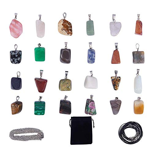 - SUNNYCLUE 24pcs Irregular Shape Healing Gemstone Chakra Beads Pendants Crystal Stone Charms & 12pcs Imitation Leather Cord Necklace & 12pcs Cross Chains & Velvet Pouches for Necklace Jewelry Making