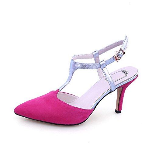 Amoonyfashion Dames Dichte Neus Spikes-stilettos Solide Gesp Sandalen Roze