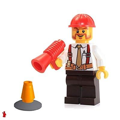 Lego City Minifigure: Construction Foreman (Shirt w/Tie & Suspenders, Helmet): Toys & Games